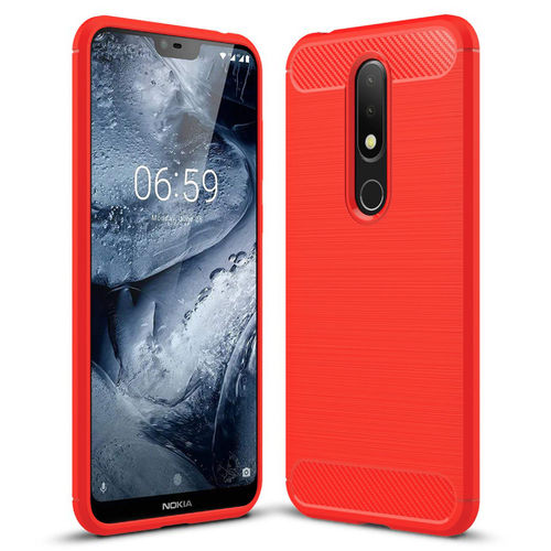 Flexi Carbon Fibre Tough Case for Nokia 6.1 Plus - Brushed Red